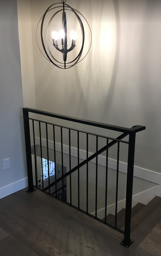 modern interior picket railing, aluminum, flat black, surrey