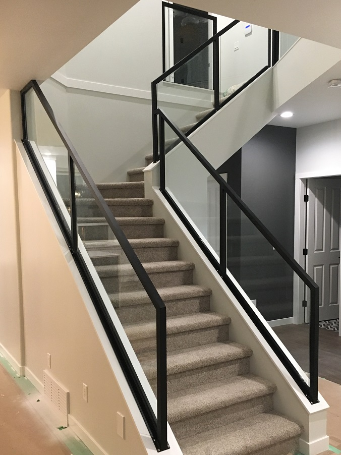 modern interior glass stair handrail, flat black, vancouver