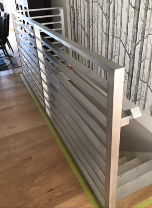 modern interior railing, horizontal pickets, silver, coquitlam