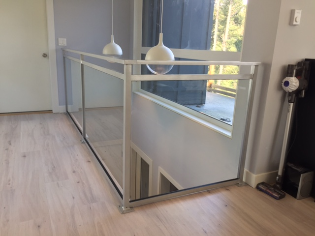 contemporary interior glass railing, silver, vancouver