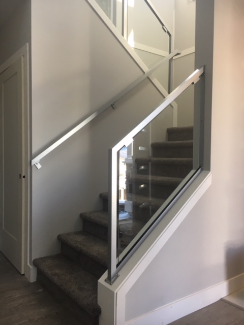 metal interior stair railing, glass, silver, modern