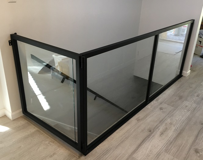 glass baby gate, interior, flat black, burnaby