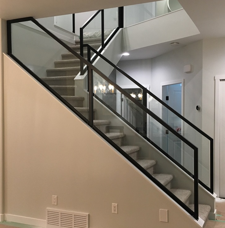 modern interior glass railing, matt black, vancouver