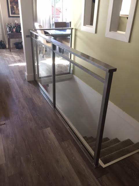 aluminum and glass interior railing, glass, silver, modern, vancouver