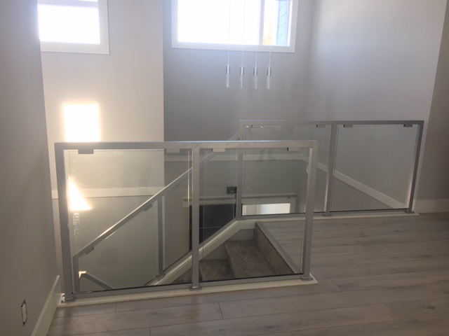 contemporary interior glass railing, silver, richmond