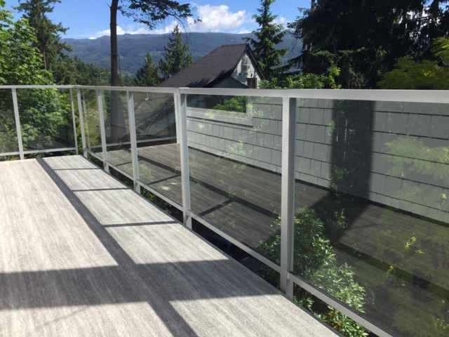 aluminum and glass deck railing, silver, fascia mounted, burnaby