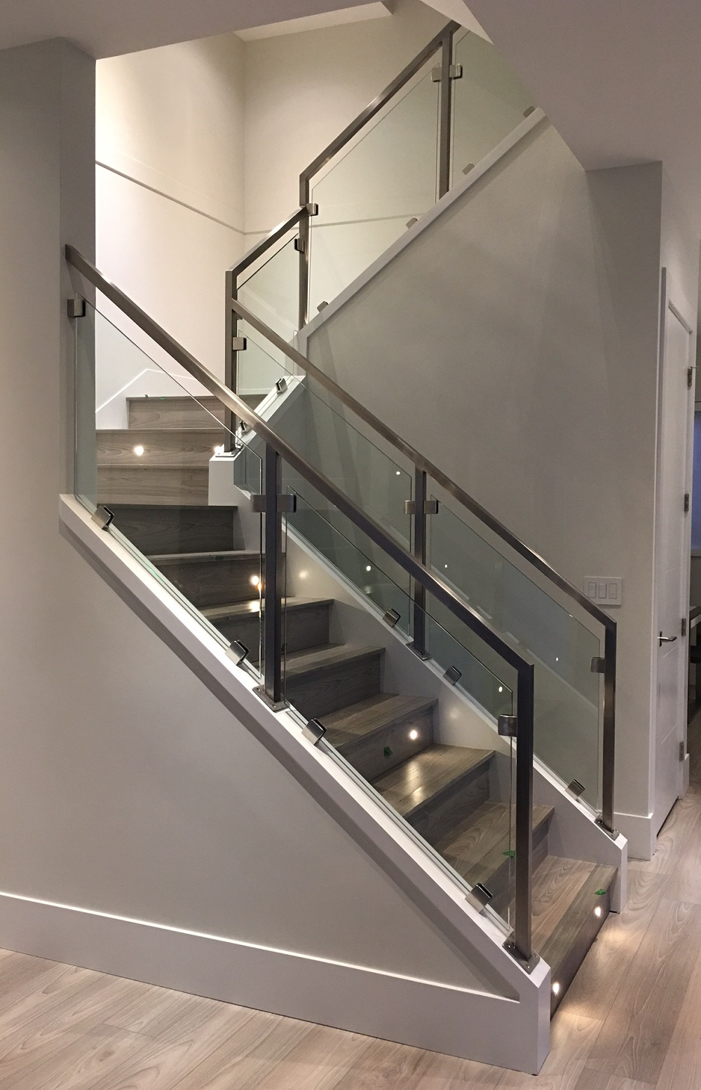 modern interior stair railings, stainless steel, richmond, bc