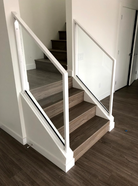 modern interior glass railing, white, vancouver