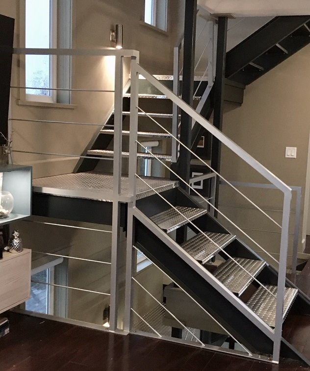 modern interior railing, cable, rod, silver, stainless steel
